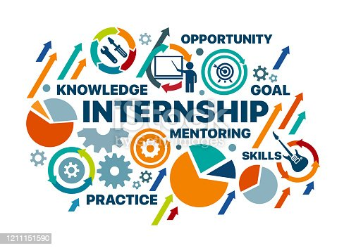 internship concept. vector illustration banner with keywords and icons. Vector infographic illustration with editable objects for presentations, sites, reports, corporate identity, banners.