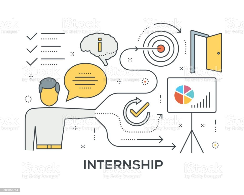 Internship Concept with icons vector art illustration
