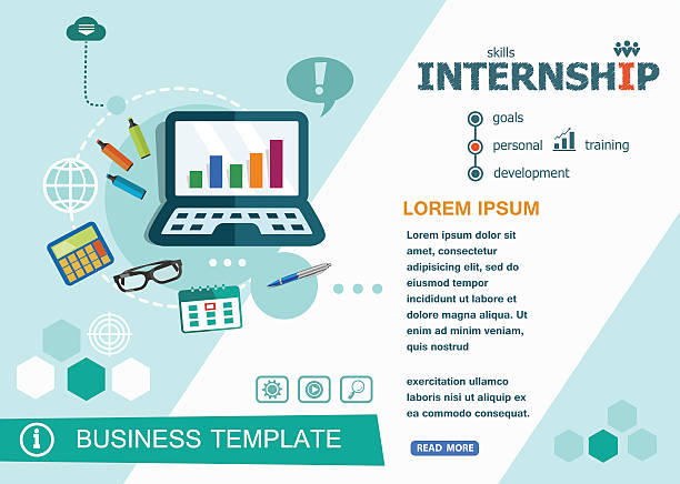 Internship concepts of words learning and training. vector art illustration