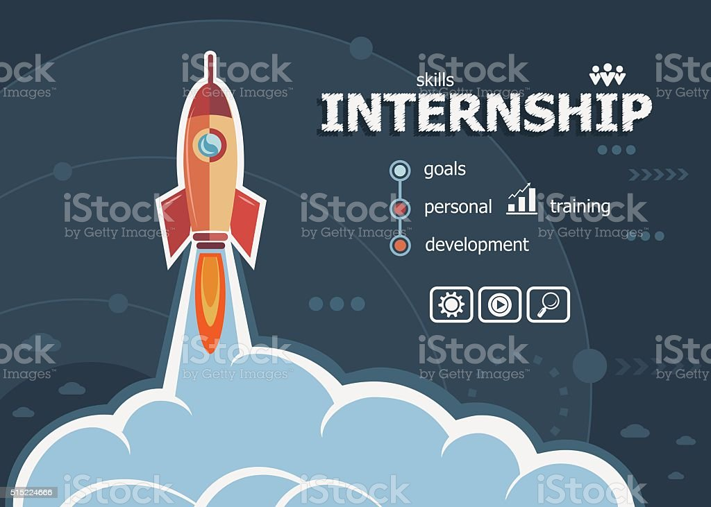 Internship design and concept background with rocket. vector art illustration