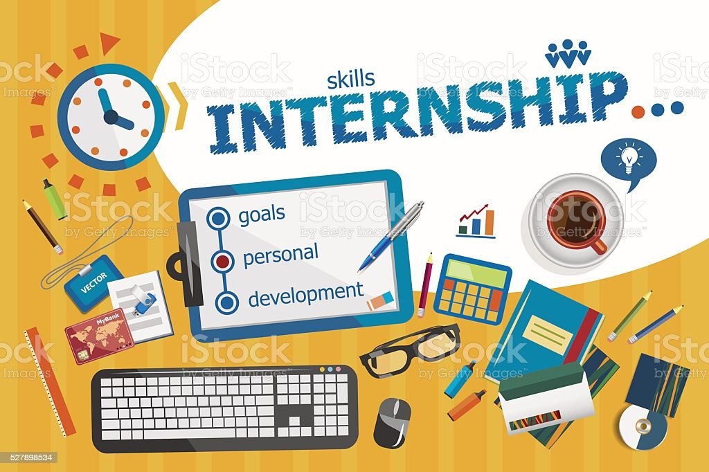 Internship design concept. Typographic poster. vector art illustration