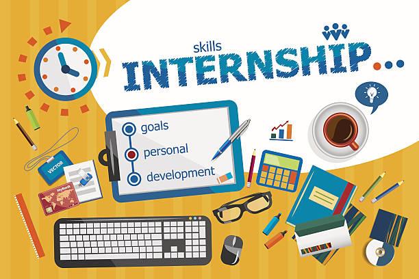Internship design concept. Typographic poster. vector art illustration