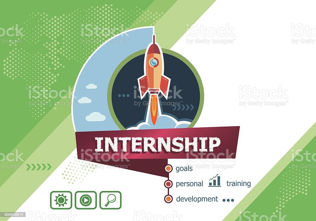 Internship design concepts for business analysis, planning vector art illustration