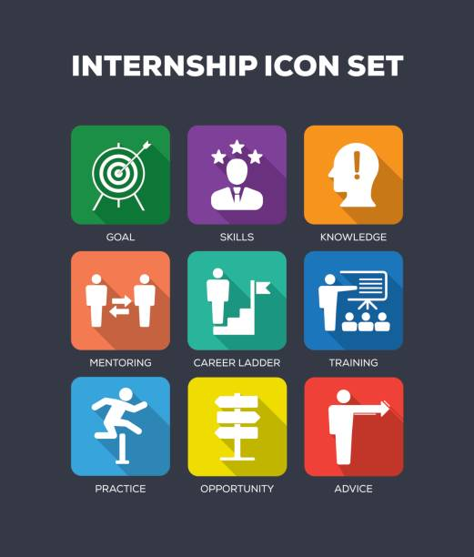 Internship Flat Icon Set vector art illustration