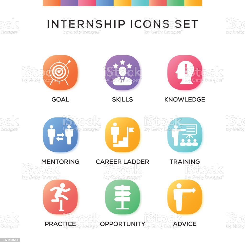 Internship Icons Set on Gradient Background vector art illustration