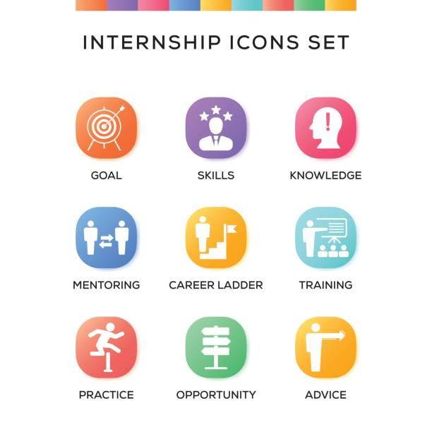 Internship Icons Set on Gradient Background vector art illustration