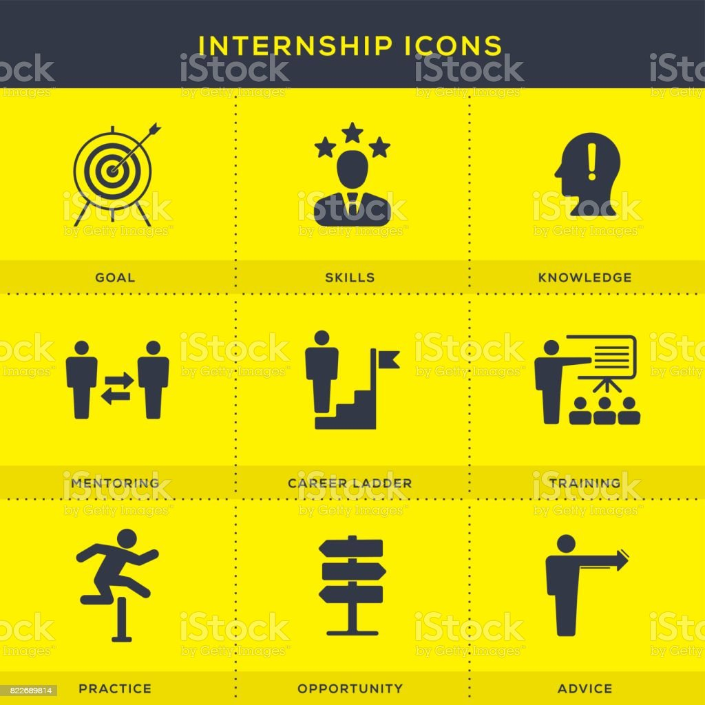 Internship Icons Set vector art illustration