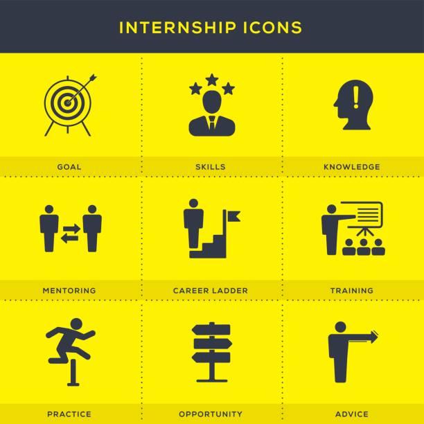 Internship Icons Set vector art illustration