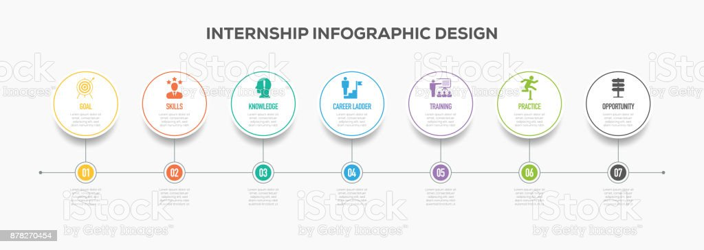 Internship Infographics Timeline Design with Icons vector art illustration