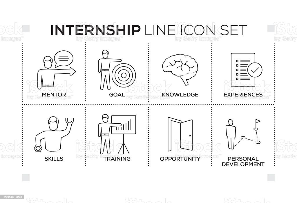 Internship keywords with monochrome line icons vector art illustration