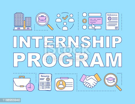 Internship program word concepts banner. Student practice. High-potential specialist coaching. Presentation, website. Isolated lettering typography idea, linear icons. Vector outline illustration