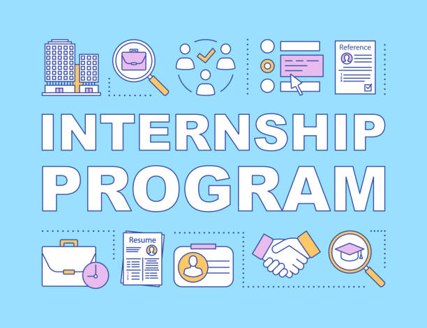 Internship program word concepts banner Internship program word concepts banner. Student practice. High-potential specialist coaching. Presentation, website. Isolated lettering typography idea, linear icons. Vector outline illustration apprentice stock illustrations