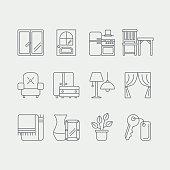 Interor desig icons isolated