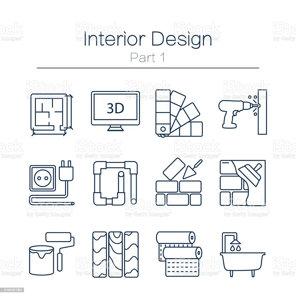 Interor desig icons isolated vector art illustration
