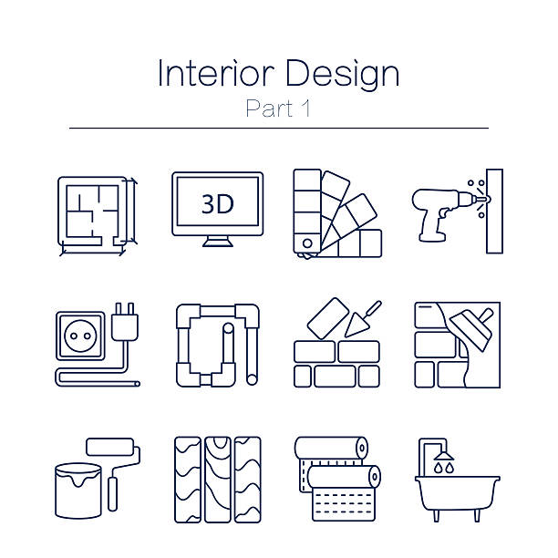 stockillustraties, clipart, cartoons en iconen met interor desig icons isolated - interior design