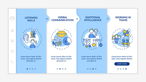 Interpersonal skill self assessment types onboarding vector template