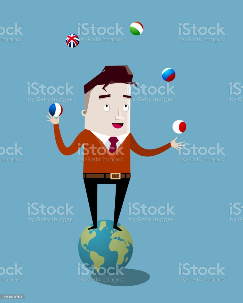 Interpreter juggling languages vector art illustration
