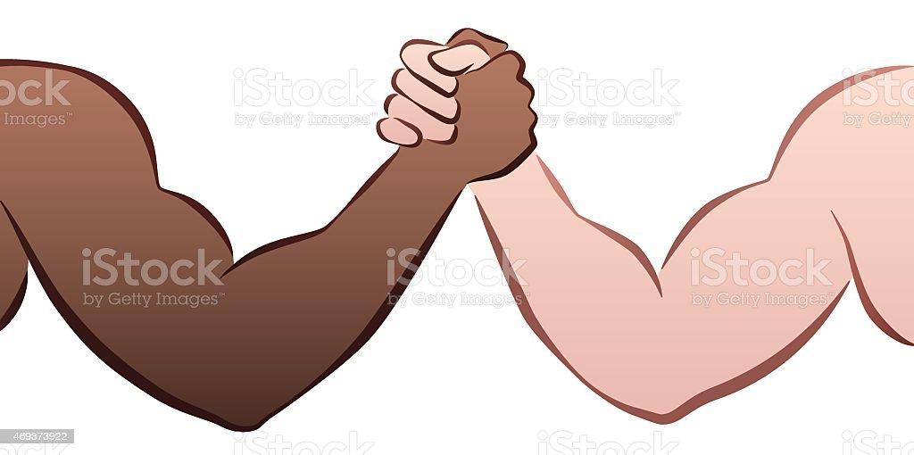 Interracial Arm Wrestling vector art illustration