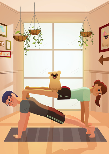 Interracial Couple doing yoga together with their dog at home.