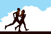Graphic silhueta illustration of a Interracial Couple Jogging Background. Proportioned for social media.