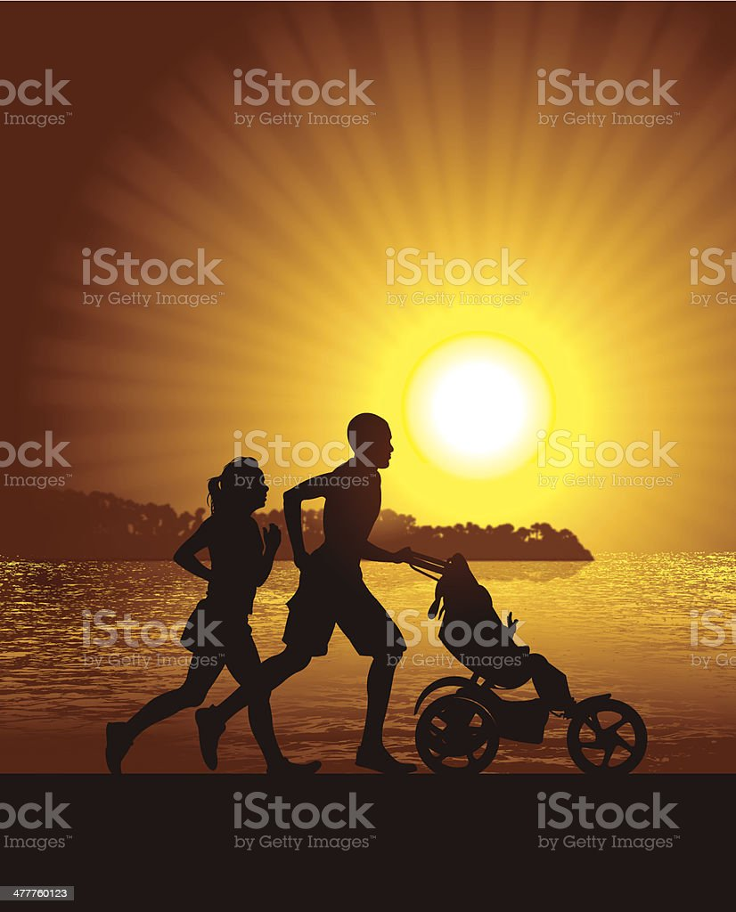 Interracial Couple Jogging with Baby at Beach royalty-free interracial couple jogging with baby at beach stock vector art & more images of adult