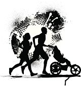 """Interracial Couple Jogging with Baby. Tight graphic silhouette illustrations of interracial heterosexual couple with baby. Check out my """"Family Matters"""" light box for more."""