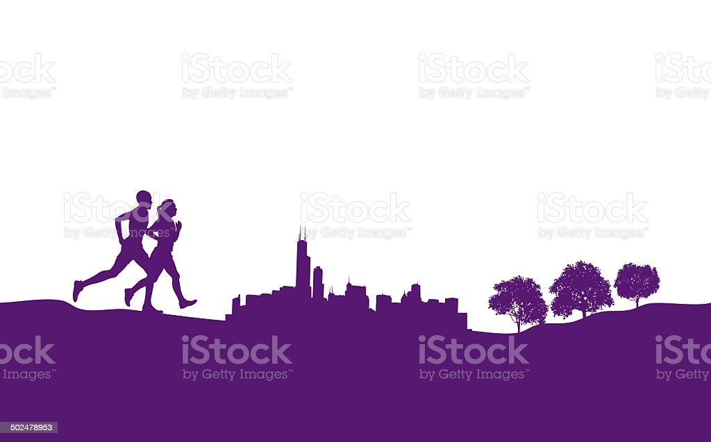 Interracial Couple Running Jogging City Park Graphic royalty-free interracial couple running jogging city park graphic stock vector art & more images of activity