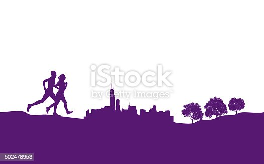 Graphic silhouette illustrations of interracial couple exercising or jogging. Scale to any size. Check out my