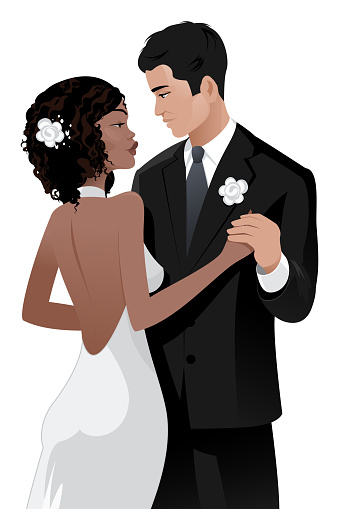 Interracial couple wedding day