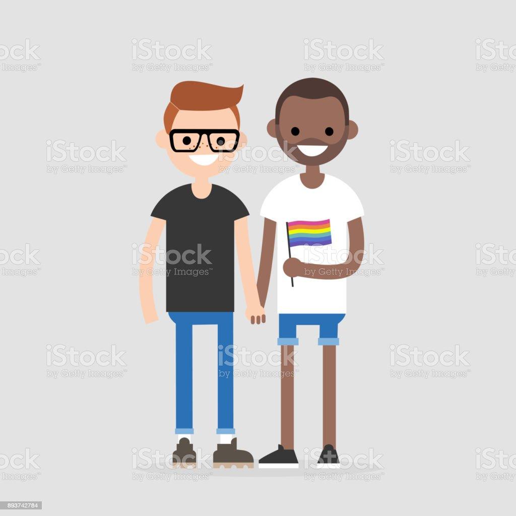 Pareja gay interracial cogidos de la mano. Derechos de LGBT. Amor y relaciones. Bandera del arco iris. Ilustración de vector completamente editable, Prediseñadas - ilustración de arte vectorial