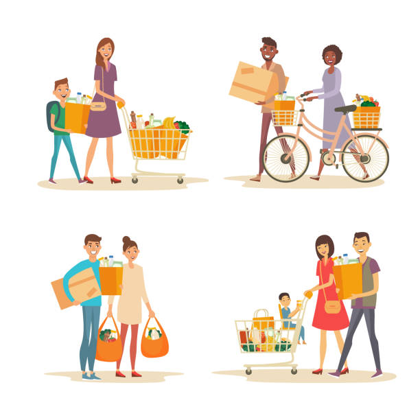 Interracial happy family with trolley and grocery Set of interracial family shopping. Characters of different nationalities with purchases. Purchase of grocery products and household goods. Word shoppping theme groceries stock illustrations