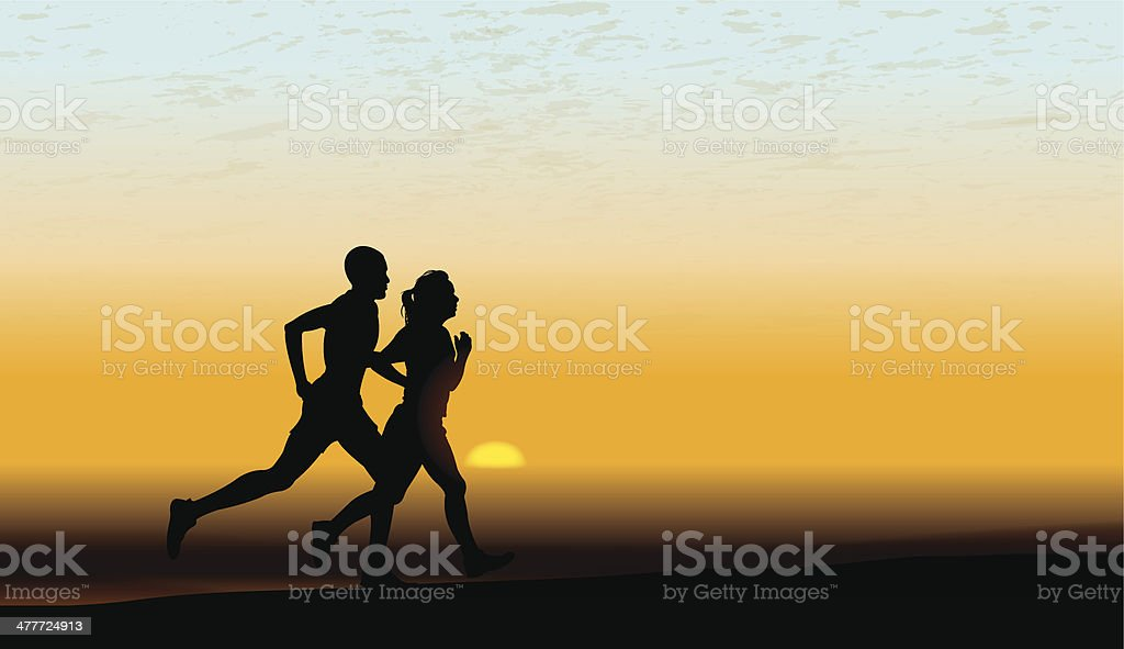 Interracial Heterosexual Couple Jogging, Fitness, Exercise Background royalty-free stock vector art
