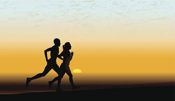 interracial heterosexuelles paar joggen, fitness, bewegung hintergrund - langstreckenlauf stock-grafiken, -clipart, -cartoons und -symbole
