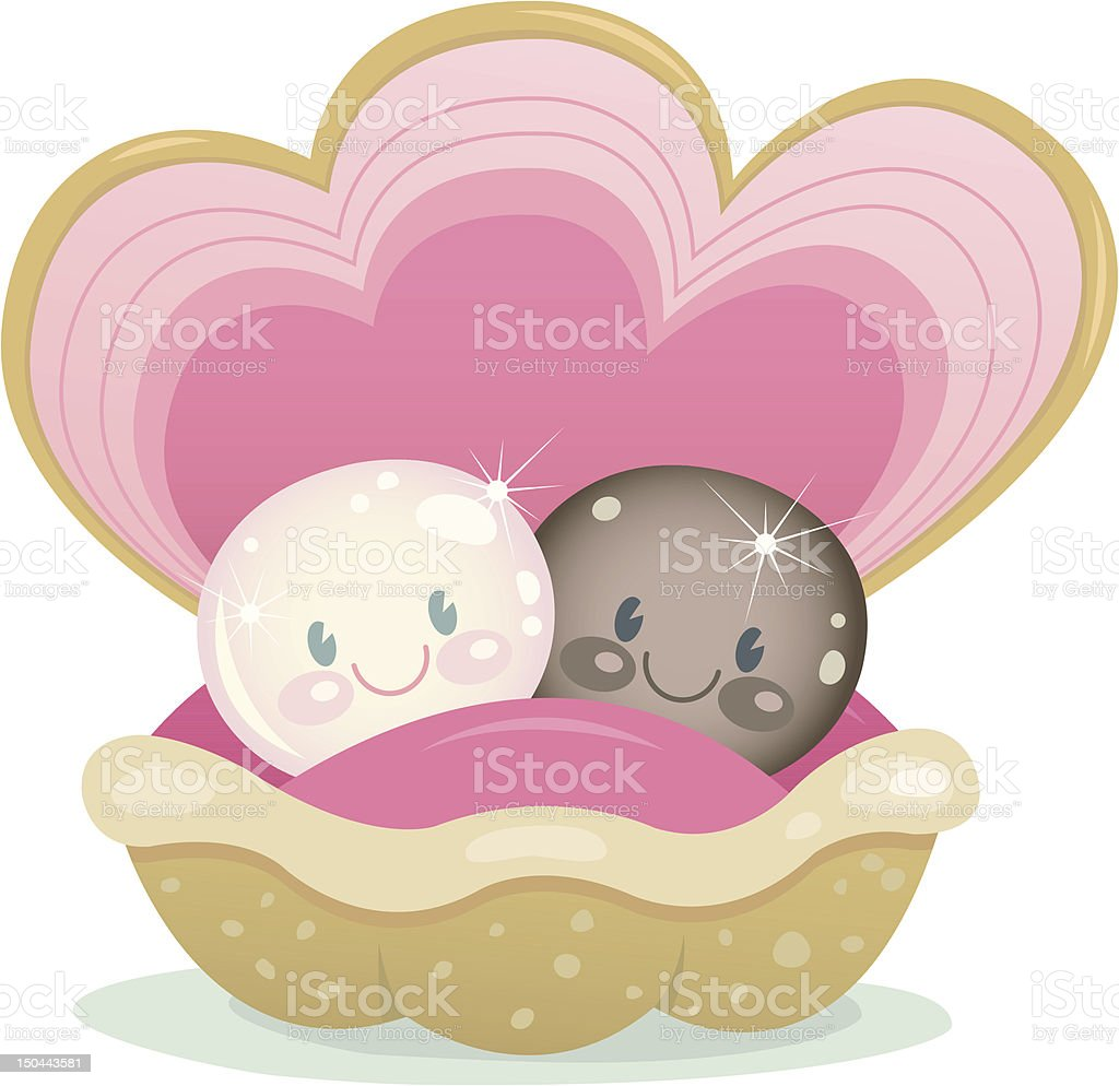 Interracial Pearls vector art illustration