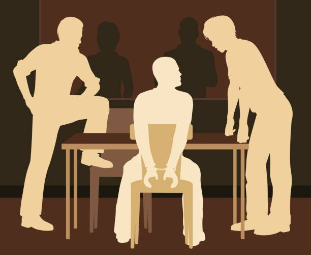 Interrogating suspect Editable vector illustration of a handcuffed man being interrogated by detectives police interview stock illustrations