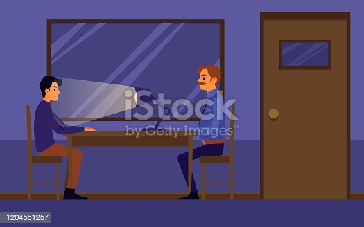 Interrogation of guilty or suspected man in police station, flat cartoon vector illustration in investigation room interior. Policeman, detective or officer job.