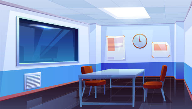 Interrogation room in police station, interior Interrogation room in police station, empty interior for questioning crimes with table, chairs, clock on wall and huge glass window, place for interview arrested people. Cartoon vector Illustration police meeting stock illustrations