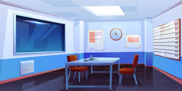 Interrogation room in police station interior Interrogation room in police station, empty interior for questioning crimes with handcuffs on table, height scale and glass window, place for interview arrested people. Cartoon vector Illustration police meeting stock illustrations