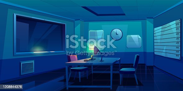 istock Interrogation room in police station interior 1208844376