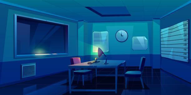 illustrations, cliparts, dessins animés et icônes de salle d'interrogatoire à l'intérieur du poste de police - bureau police