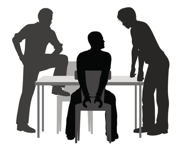 Interrogation Editable vector silhouettes of a handcuffed man being interrogated by two detectives police interview stock illustrations