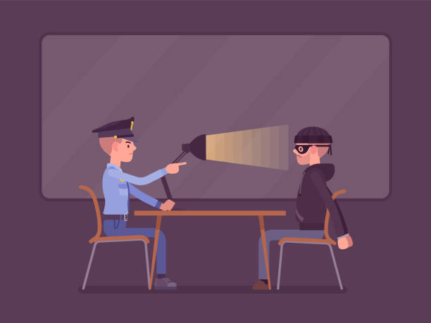 Interrogation with lamp Interrogation with lamp. Policeman questioning the criminal, using light techniques, man arrested or suspected asked, interviewing by police. Vector flat style cartoon illustration police interview stock illustrations