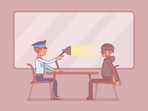 Interrogation with lamp Interrogation with lamp. Policeman questioning the criminal, using light techniques, man arrested or suspected asked, interviewing by police. Law and justice concept. Vector line art illustration police interview stock illustrations