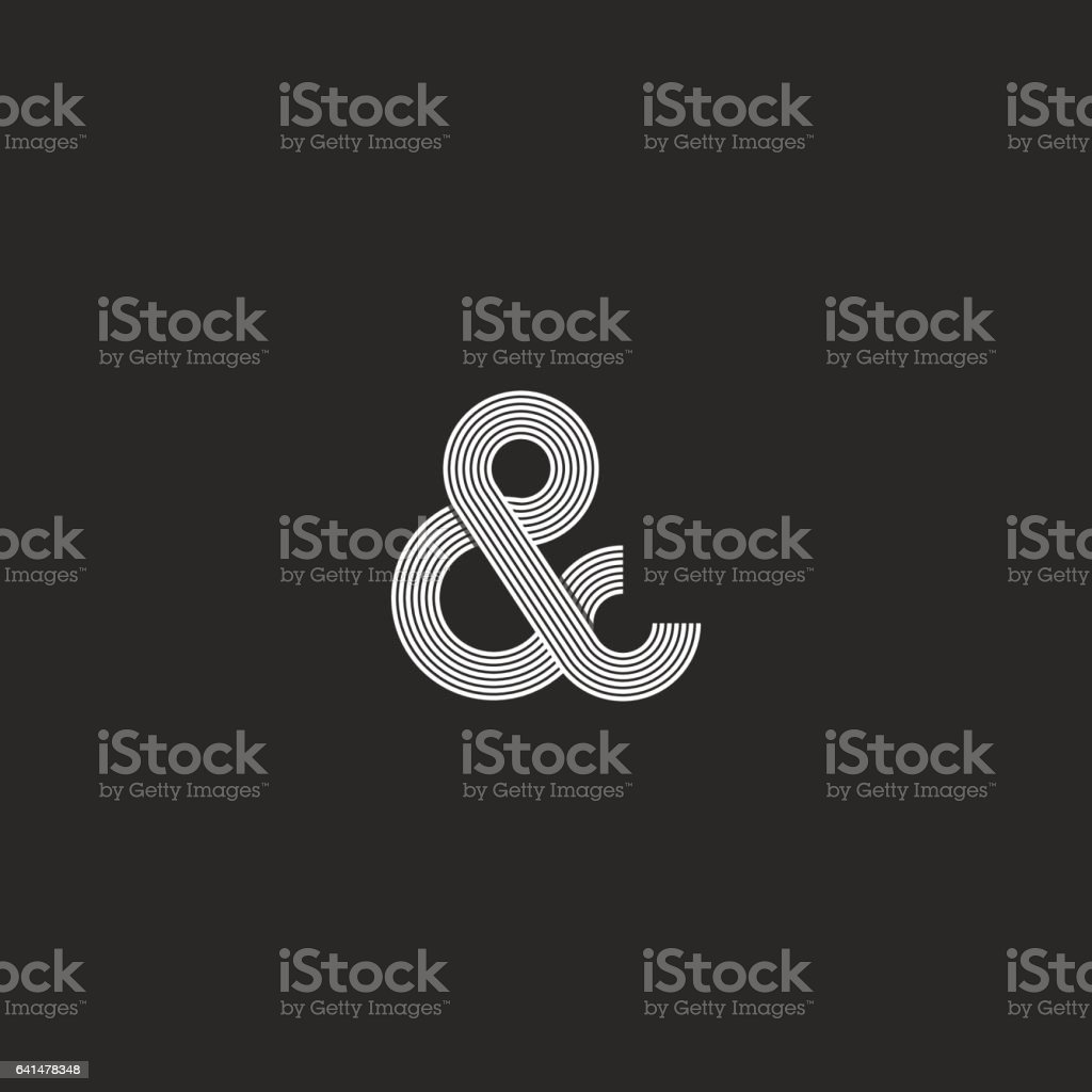 Intersection thin line ampersand logo monogram black and white vector art illustration
