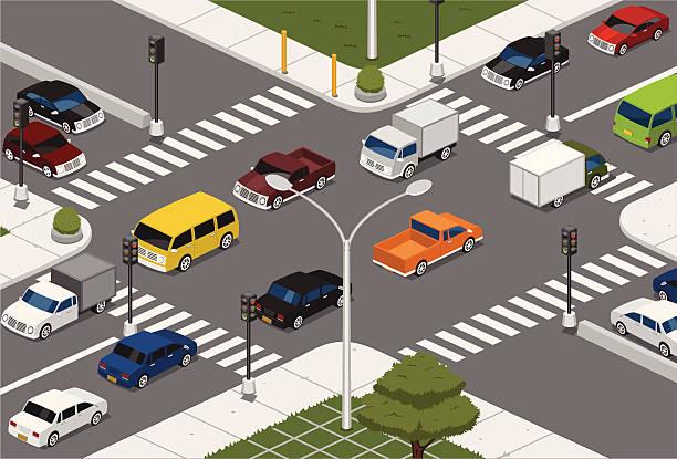ilustraciones, imágenes clip art, dibujos animados e iconos de stock de intersección - señalización vial