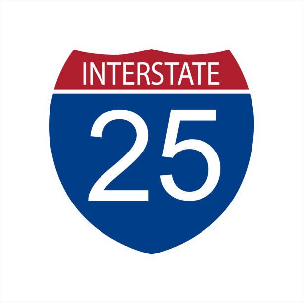 Interstate highway road Vector illustration interstate highway 25 road sign icon isolated on white background highway stock illustrations