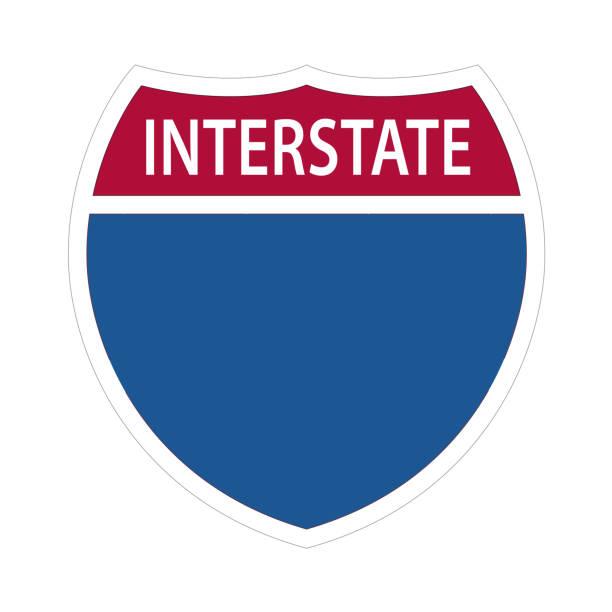 ilustraciones, imágenes clip art, dibujos animados e iconos de stock de señales de autopista interestatal. - señal