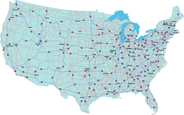 USA Interstate Map vector art illustration