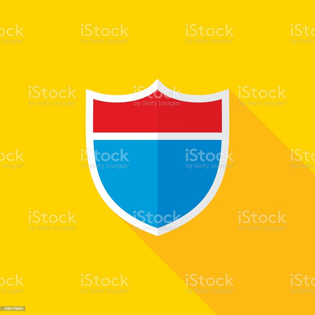 Interstate Road Shield Flat Long Shadow Icon vector art illustration