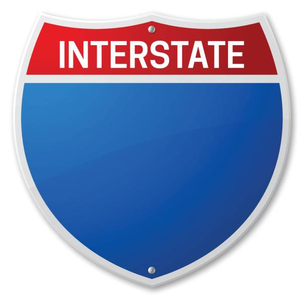 interstate road sign - road trip stock illustrations